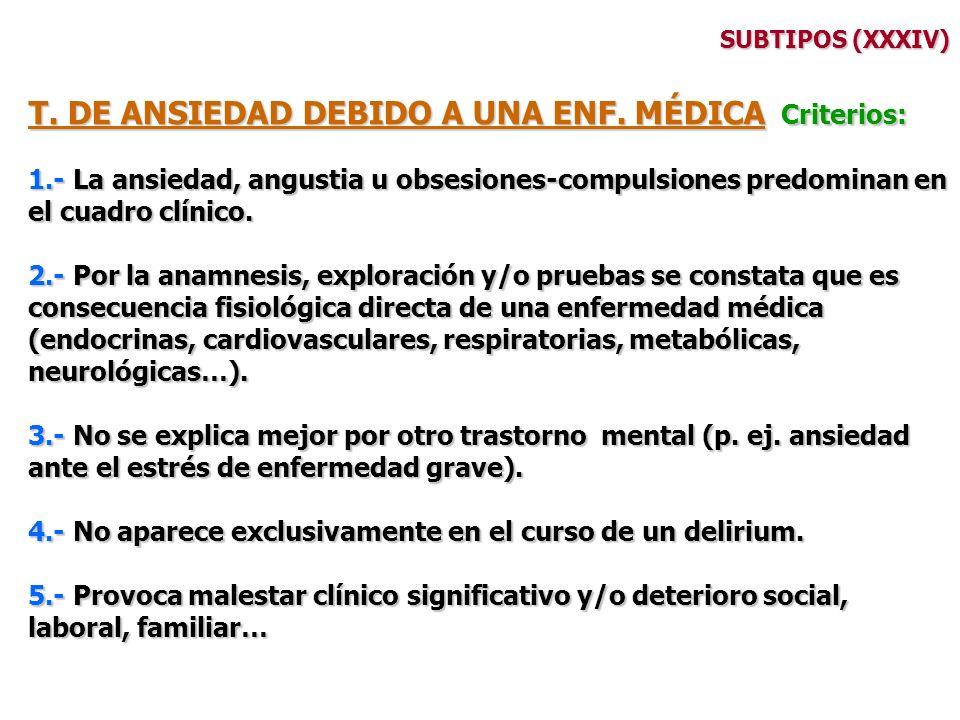 SUBTIPOS (XXXIV) T. DE ANSIEDAD DEBIDO A UNA ENF. MÉDICA Criterios: 1.- La ansiedad, angustia u obsesiones-compulsiones predominan en el cuadro clínic