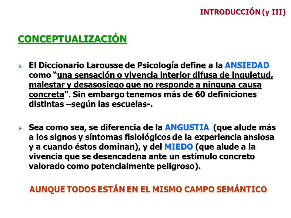INTRODUCCIÓN (y III) CONCEPTUALIZACIÓN El Diccionario Larousse de Psicología define a la ANSIEDAD como una sensación o vivencia interior difusa de inq