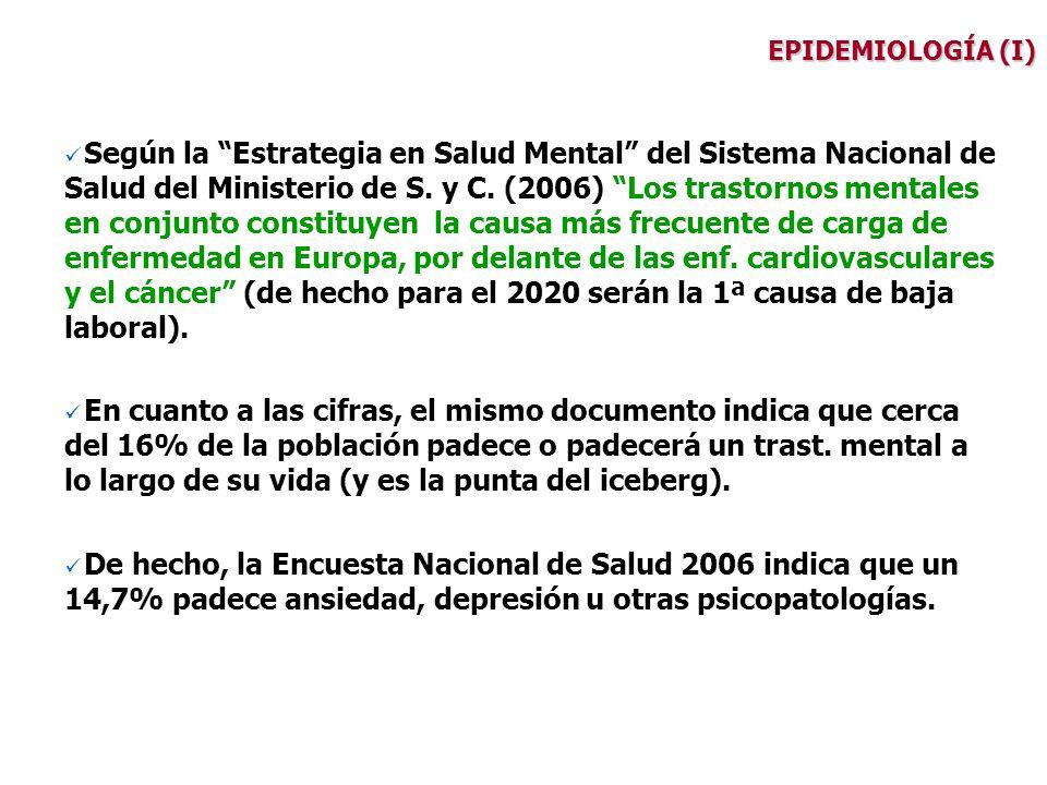 EPIDEMIOLOGÍA (I) Según la Estrategia en Salud Mental del Sistema Nacional de Salud del Ministerio de S. y C. (2006) Los trastornos mentales en conjun