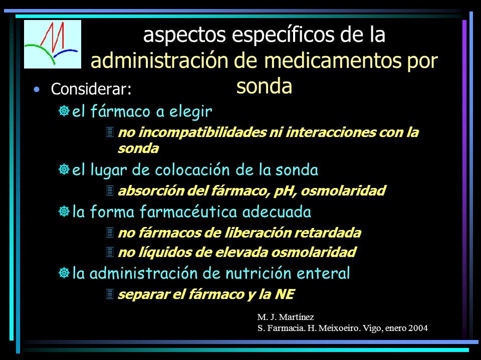 M. J. Martínez S. Farmacia. H. Meixoeiro. Vigo, enero 2004 aspectos específicos de la administración de medicamentos por sonda Considerar: ]el fármaco