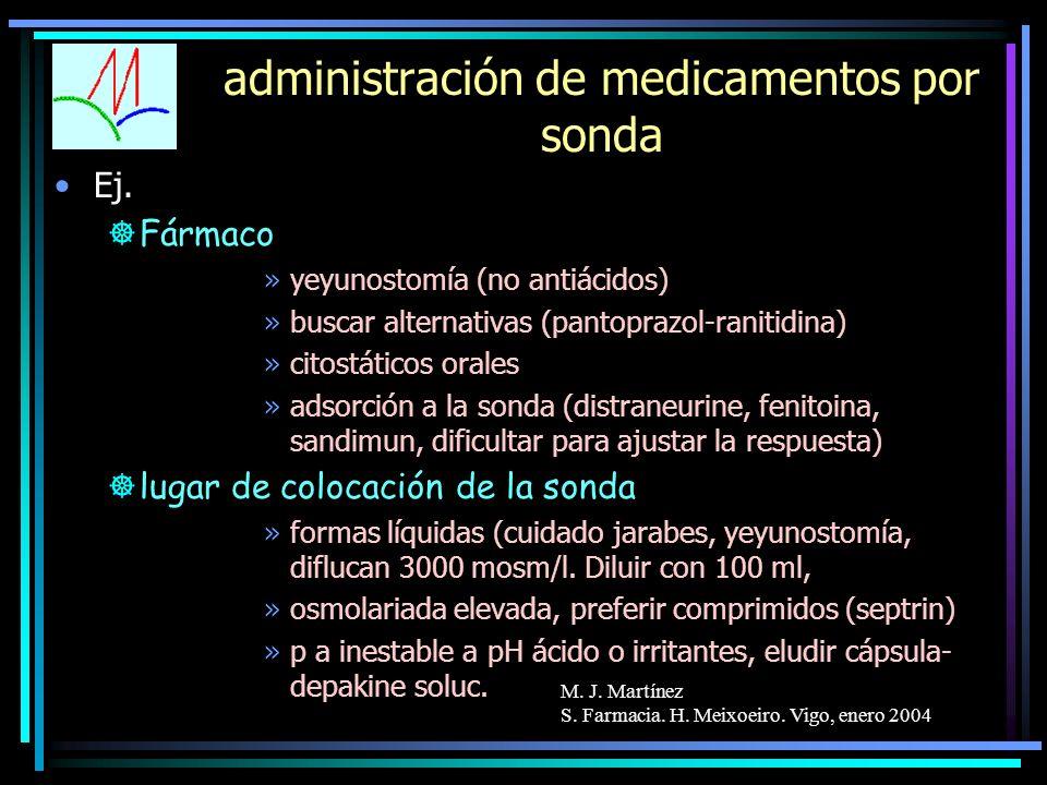 M. J. Martínez S. Farmacia. H. Meixoeiro. Vigo, enero 2004 administración de medicamentos por sonda Ej. ]Fármaco »yeyunostomía (no antiácidos) »buscar