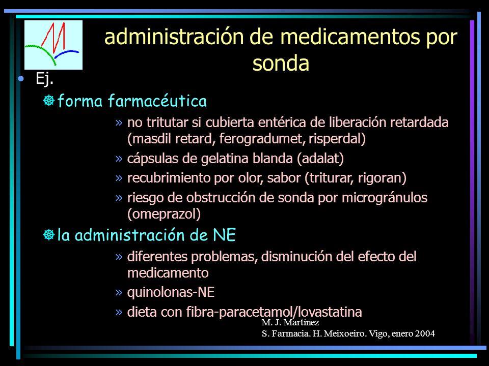 M. J. Martínez S. Farmacia. H. Meixoeiro. Vigo, enero 2004 administración de medicamentos por sonda Ej. ]forma farmacéutica »no tritutar si cubierta e