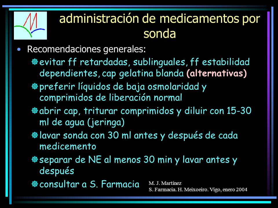 M. J. Martínez S. Farmacia. H. Meixoeiro. Vigo, enero 2004 administración de medicamentos por sonda Recomendaciones generales: ]evitar ff retardadas,