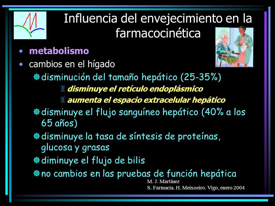 M. J. Martínez S. Farmacia. H. Meixoeiro. Vigo, enero 2004 Influencia del envejecimiento en la farmacocinética metabolismo cambios en el hígado ]dismi