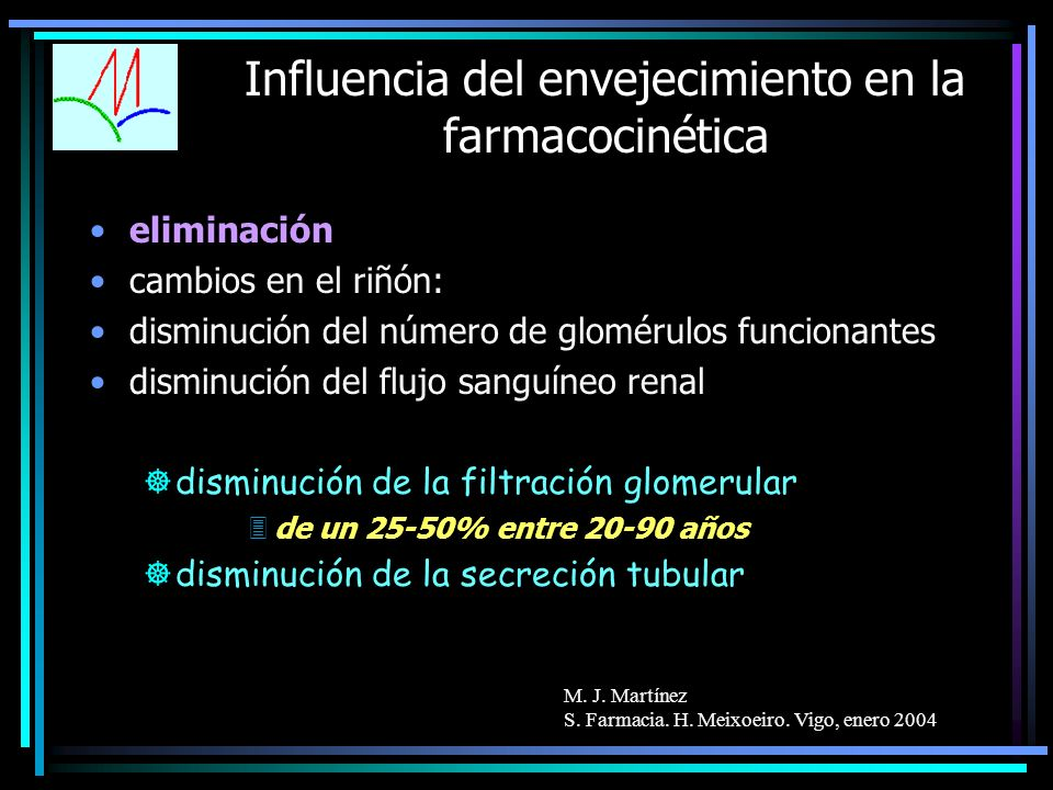 M. J. Martínez S. Farmacia. H. Meixoeiro. Vigo, enero 2004 Influencia del envejecimiento en la farmacocinética eliminación cambios en el riñón: dismin