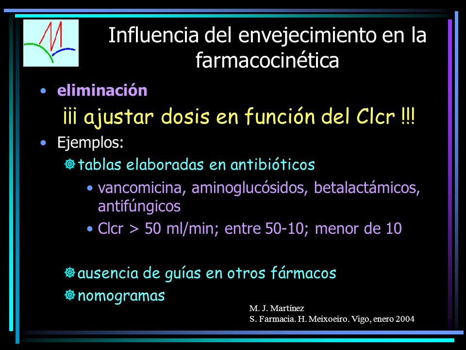 M. J. Martínez S. Farmacia. H. Meixoeiro. Vigo, enero 2004 Influencia del envejecimiento en la farmacocinética eliminación ¡¡¡ ajustar dosis en funció