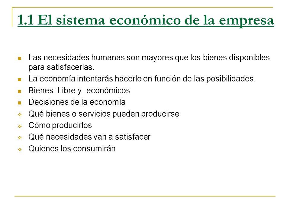1.1 El sistema económico de la empresa Las necesidades humanas son mayores que los bienes disponibles para satisfacerlas. La economía intentarás hacer