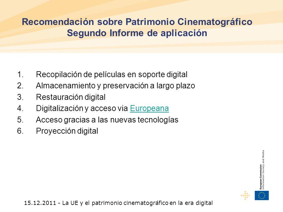 15.12.2011 - La UE y el patrimonio cinematográfico en la era digital Recomendación sobre Patrimonio Cinematográfico Segundo Informe de aplicación 1.