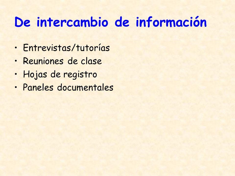 De intercambio de información Entrevistas/tutorías Reuniones de clase Hojas de registro Paneles documentales