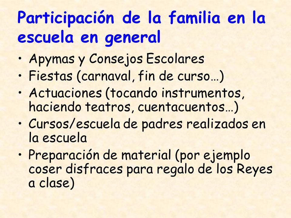 Participación de la familia en la escuela en general Apymas y Consejos Escolares Fiestas (carnaval, fin de curso…) Actuaciones (tocando instrumentos,
