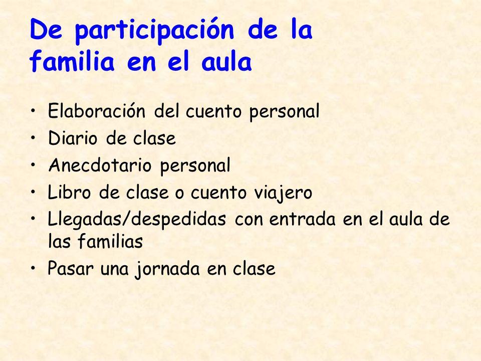 De participación de la familia en el aula Elaboración del cuento personal Diario de clase Anecdotario personal Libro de clase o cuento viajero Llegada