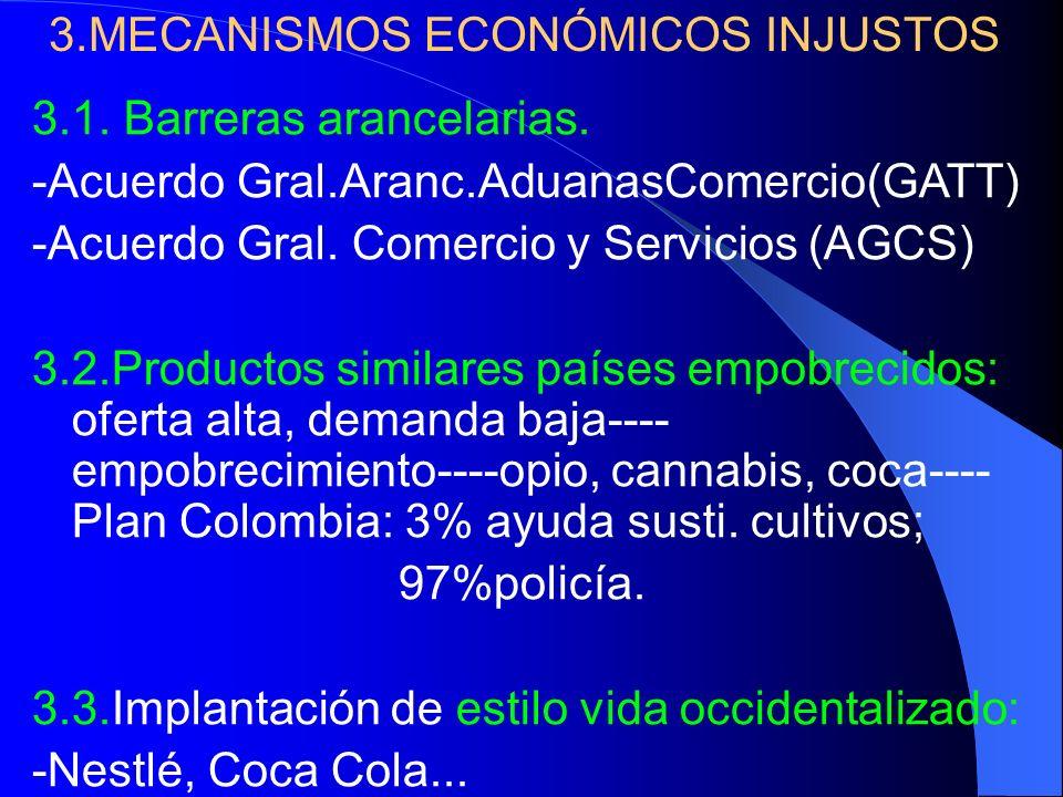 3.MECANISMOS ECONÓMICOS INJUSTOS 3.1. Barreras arancelarias. -Acuerdo Gral.Aranc.AduanasComercio(GATT) -Acuerdo Gral. Comercio y Servicios (AGCS) 3.2.