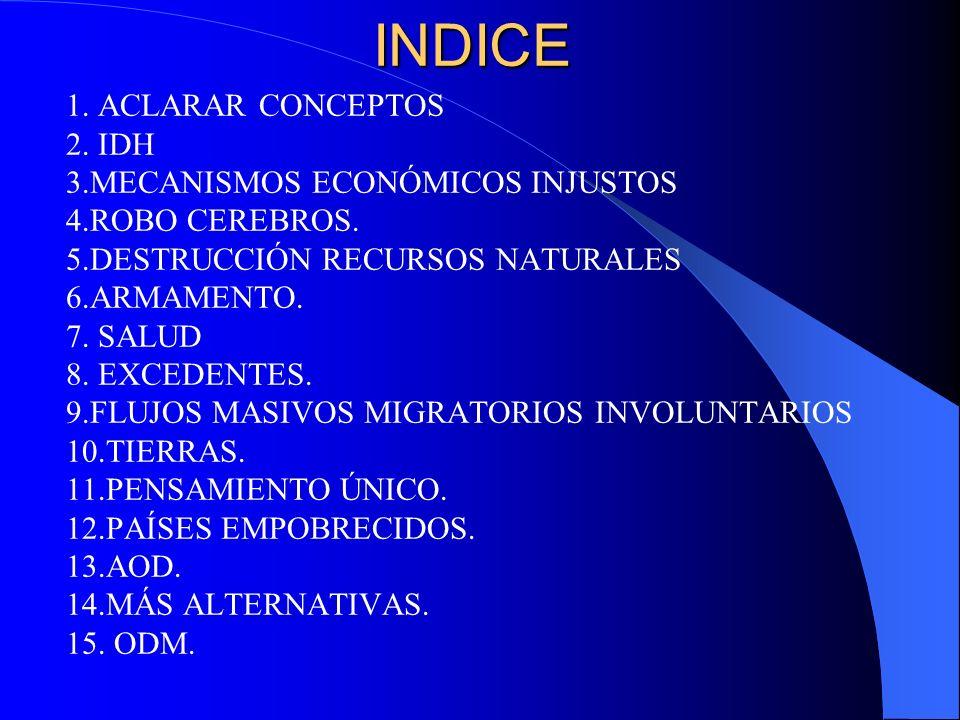 INDICE 1. ACLARAR CONCEPTOS 2. IDH 3.MECANISMOS ECONÓMICOS INJUSTOS 4.ROBO CEREBROS. 5.DESTRUCCIÓN RECURSOS NATURALES 6.ARMAMENTO. 7. SALUD 8. EXCEDEN