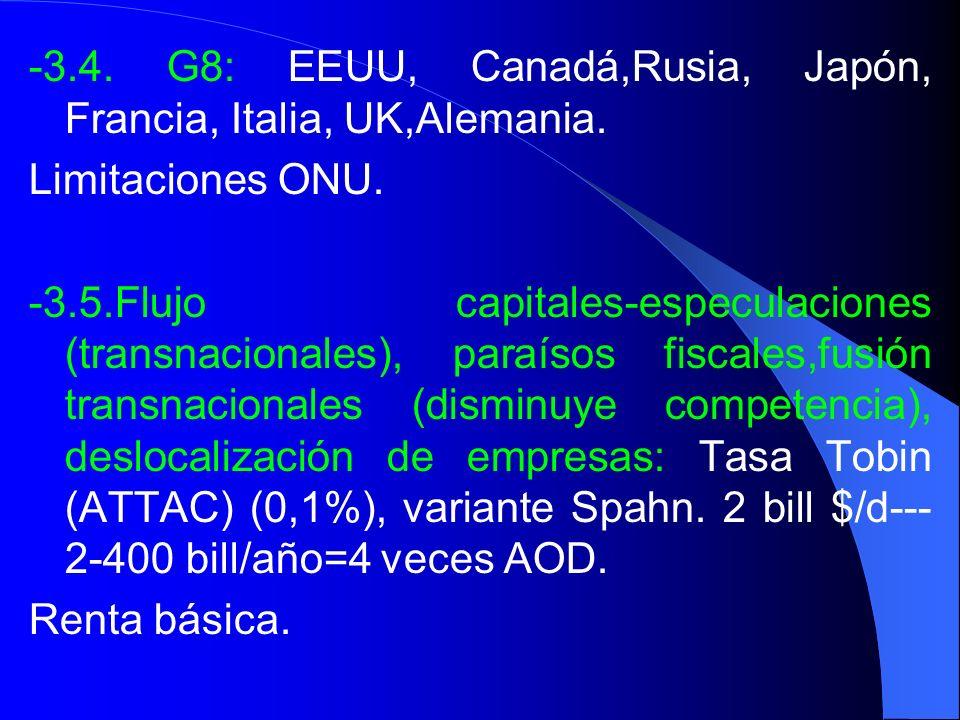 -3.4. G8: EEUU, Canadá,Rusia, Japón, Francia, Italia, UK,Alemania. Limitaciones ONU. -3.5.Flujo capitales-especulaciones (transnacionales), paraísos f