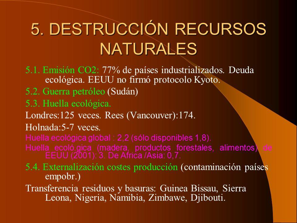 5. DESTRUCCIÓN RECURSOS NATURALES 5.1. Emisión CO2: 77% de países industrializados. Deuda ecológica. EEUU no firmó protocolo Kyoto. 5.2. Guerra petról