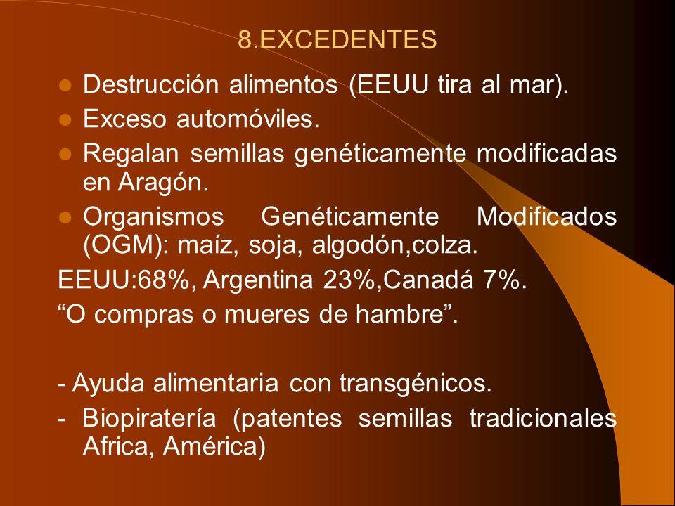 8.EXCEDENTES Destrucción alimentos (EEUU tira al mar). Exceso automóviles. Regalan semillas genéticamente modificadas en Aragón. Organismos Genéticame