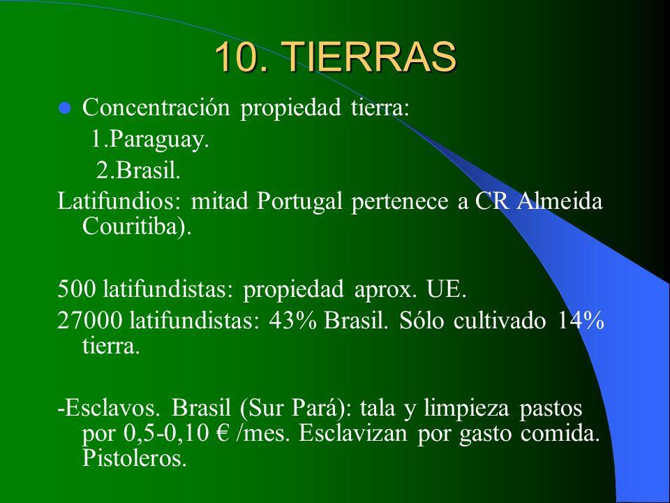 10. TIERRAS Concentración propiedad tierra: 1.Paraguay. 2.Brasil. Latifundios: mitad Portugal pertenece a CR Almeida Couritiba). 500 latifundistas: pr