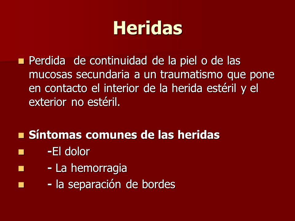 Heridas Perdida de continuidad de la piel o de las mucosas secundaria a un traumatismo que pone en contacto el interior de la herida estéril y el exte
