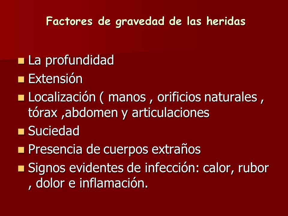 Factores de gravedad de las heridas La profundidad La profundidad Extensión Extensión Localización ( manos, orificios naturales, tórax,abdomen y artic