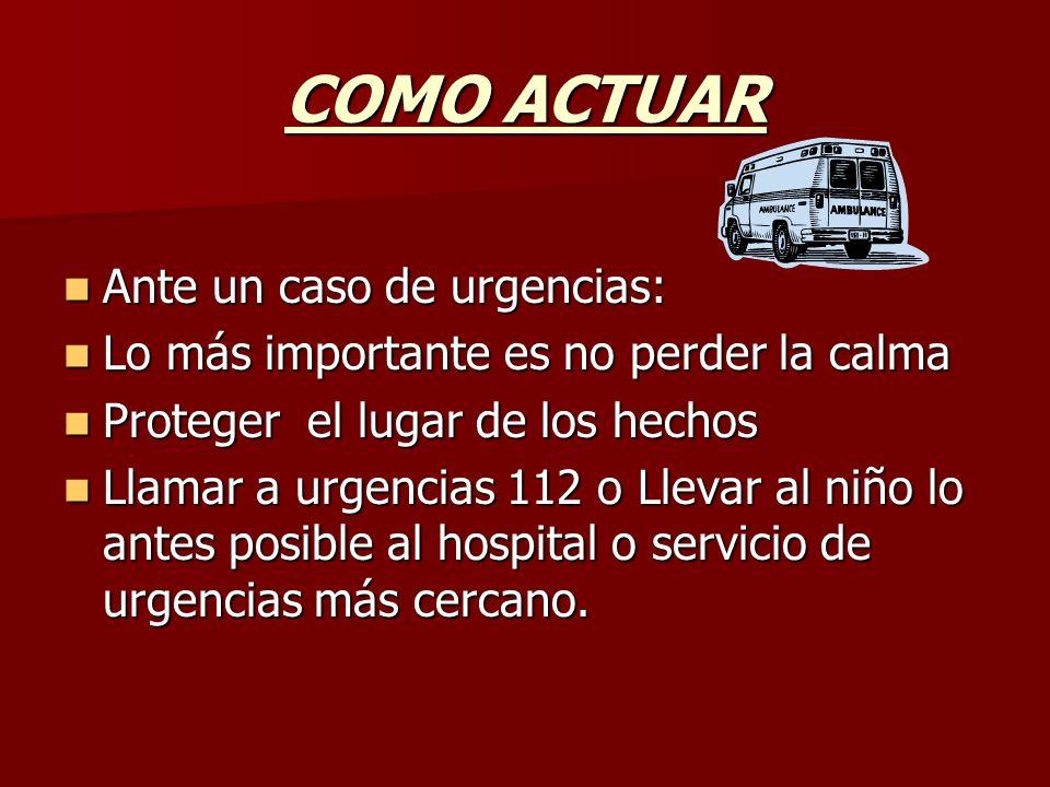 COMO ACTUAR Ante un caso de urgencias: Ante un caso de urgencias: Lo más importante es no perder la calma Lo más importante es no perder la calma Prot