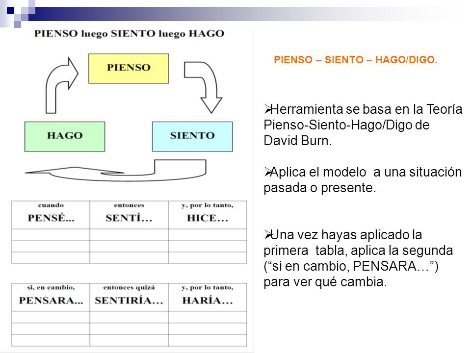 PIENSO – SIENTO – HAGO/DIGO. Herramienta se basa en la Teoría Pienso-Siento-Hago/Digo de David Burn. Aplica el modelo a una situación pasada o present