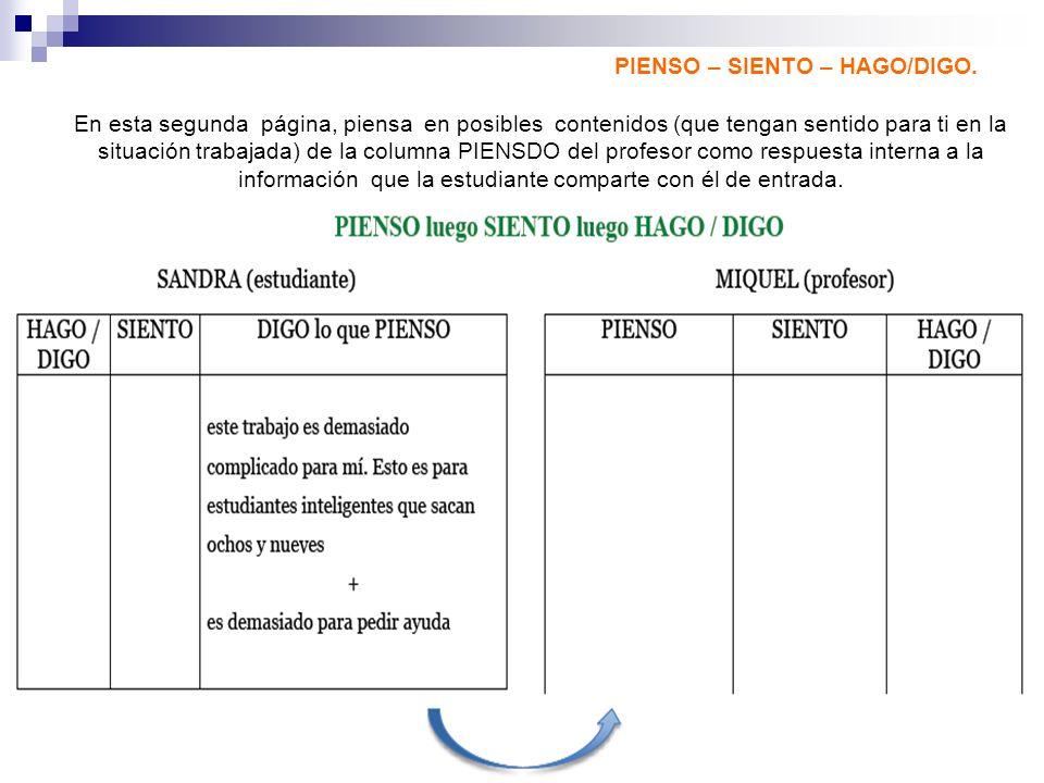 PIENSO – SIENTO – HAGO/DIGO. En esta segunda página, piensa en posibles contenidos (que tengan sentido para ti en la situación trabajada) de la column
