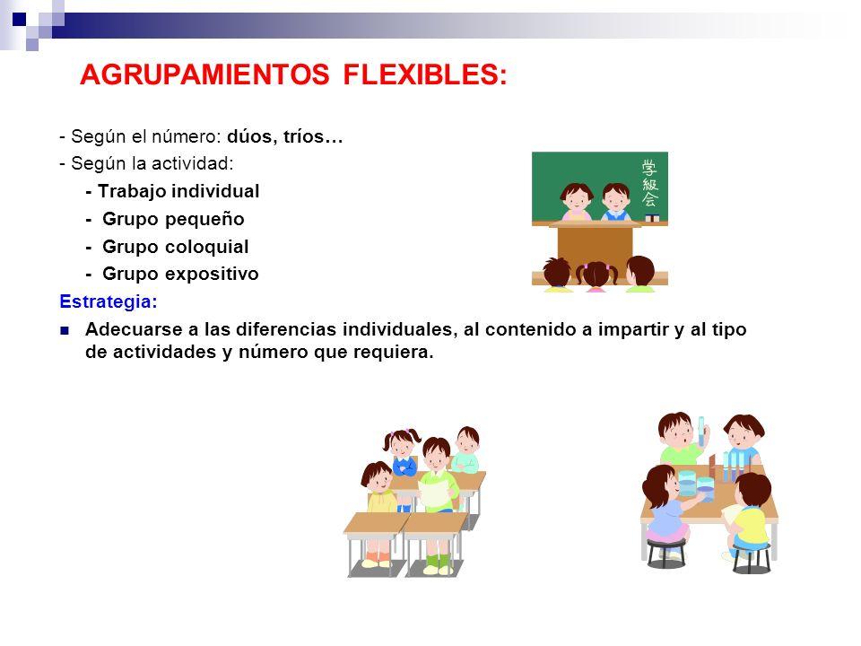 AGRUPAMIENTOS FLEXIBLES: - Según el número: dúos, tríos… - Según la actividad: - Trabajo individual - Grupo pequeño - Grupo coloquial - Grupo expositi