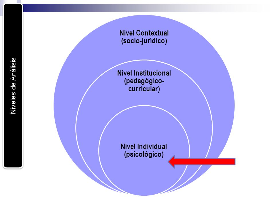 Niveles de Análisis Nivel Contextual (socio-jurídico) Nivel Institucional (pedagógico- curricular) Nivel Individual (psicológico)