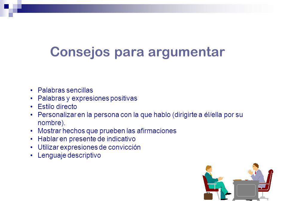 Palabras sencillas Palabras y expresiones positivas Estilo directo Personalizar en la persona con la que hablo (dirigirte a él/ella por su nombre). Mo
