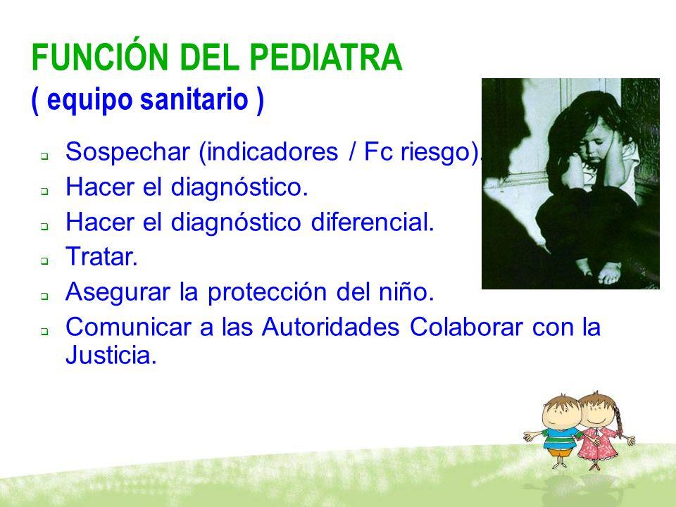 FUNCIÓN DEL PEDIATRA ( equipo sanitario ) Sospechar (indicadores / Fc riesgo). Hacer el diagnóstico. Hacer el diagnóstico diferencial. Tratar. Asegura