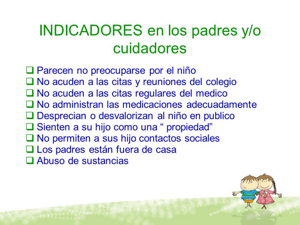 INDICADORES en los padres y/o cuidadores Parecen no preocuparse por el niño No acuden a las citas y reuniones del colegio No acuden a las citas regula
