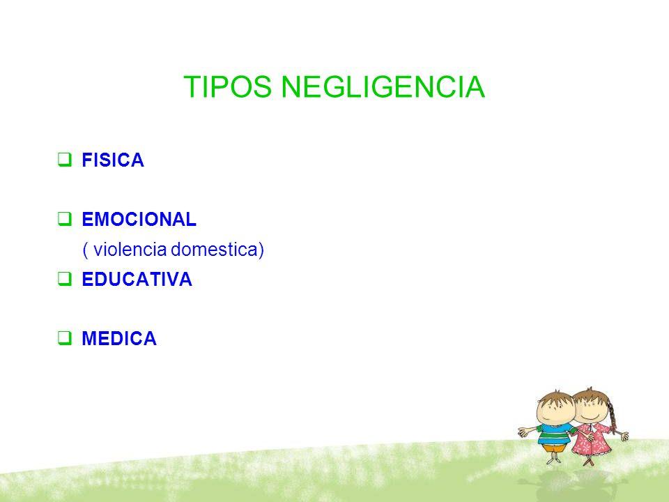 TIPOS NEGLIGENCIA FISICA EMOCIONAL ( violencia domestica) EDUCATIVA MEDICA