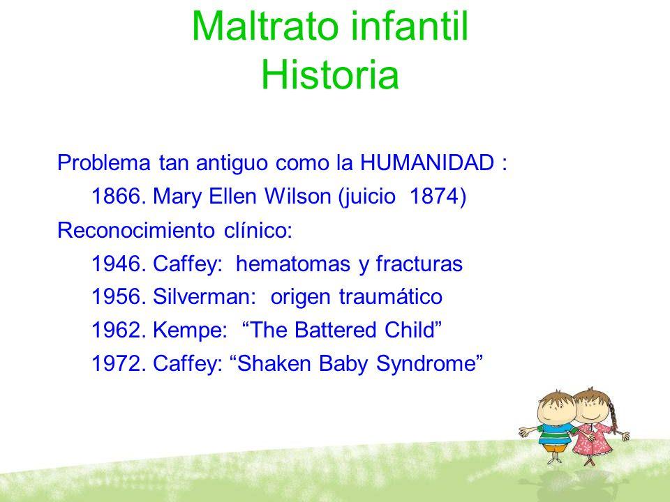 Maltrato infantil Historia Problema tan antiguo como la HUMANIDAD : 1866. Mary Ellen Wilson (juicio 1874) Reconocimiento clínico: 1946. Caffey: hemato