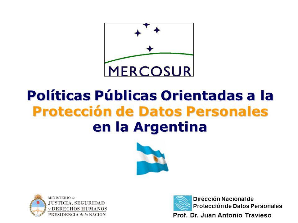Políticas Públicas Orientadas a la Protección de Datos Personales en la Argentina Prof. Dr. Juan Antonio Travieso Dirección Nacional de Protección de