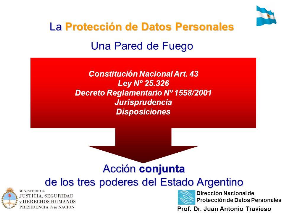 La Protección de Datos Personales La Protección de Datos Personales Una Pared de Fuego Acción conjunta de los tres poderes del Estado Argentino Consti