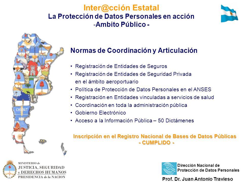 Inter@cción Estatal La Protección de Datos Personales en acción -Ambito Público - Normas de Coordinación y Articulación Registración de Entidades de S