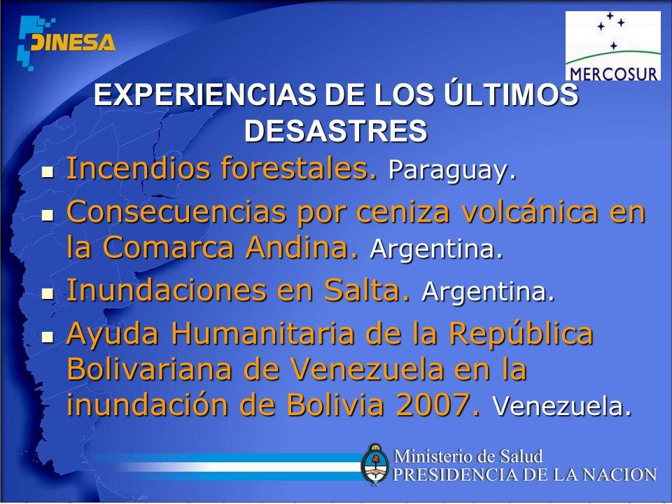 EXPERIENCIAS DE LOS ÚLTIMOS DESASTRES Incendios forestales. Paraguay. Incendios forestales. Paraguay. Consecuencias por ceniza volcánica en la Comarca