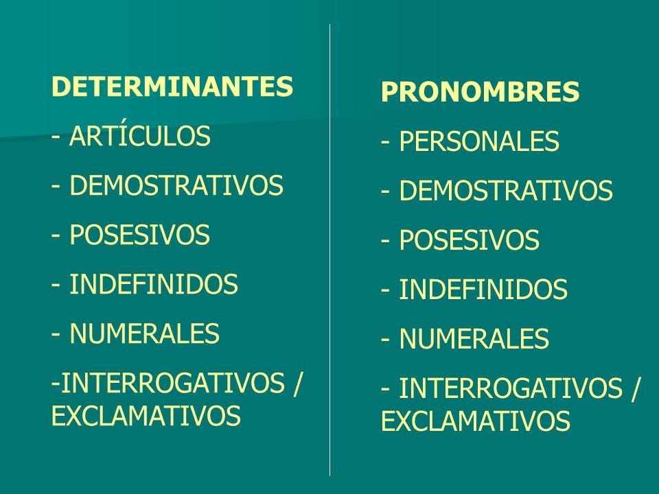 DETERMINANTE Categoría gramatical que ACOMPAÑA al nombre.