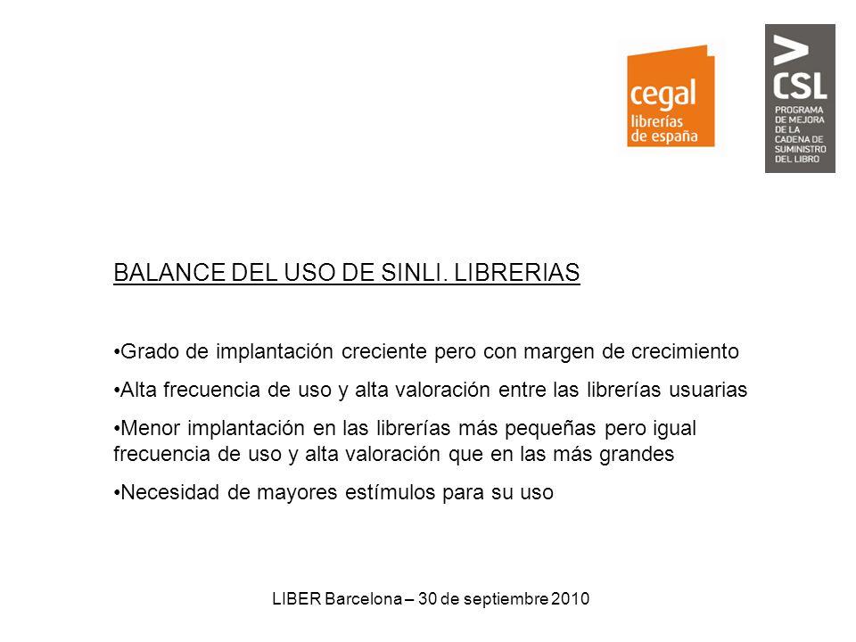 LIBER Barcelona – 30 de septiembre 2010 BALANCE DEL USO DE SINLI. LIBRERIAS Grado de implantación creciente pero con margen de crecimiento Alta frecue