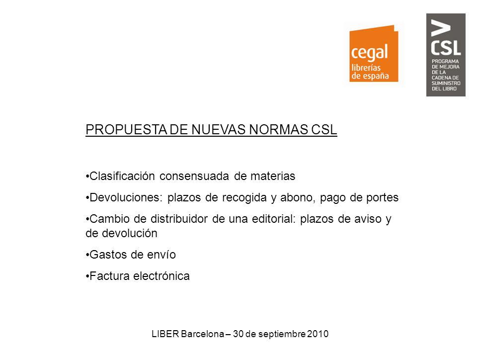 LIBER Barcelona – 30 de septiembre 2010 PROPUESTA DE NUEVAS NORMAS CSL Clasificación consensuada de materias Devoluciones: plazos de recogida y abono,