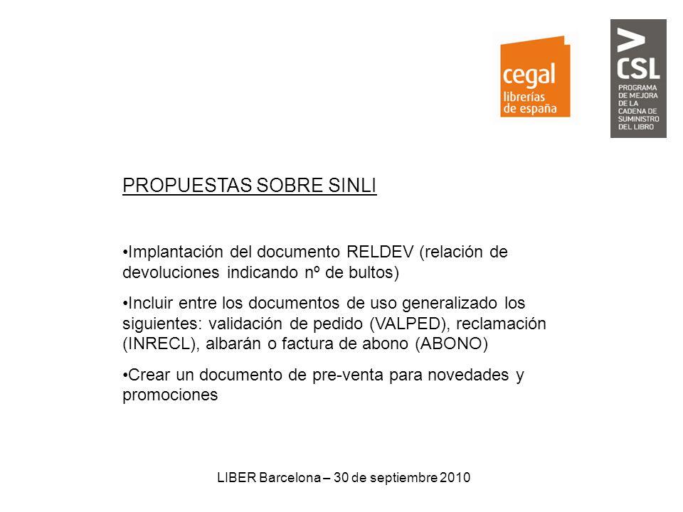 LIBER Barcelona – 30 de septiembre 2010 PROPUESTAS SOBRE SINLI Implantación del documento RELDEV (relación de devoluciones indicando nº de bultos) Inc