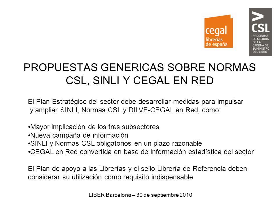 LIBER Barcelona – 30 de septiembre 2010 PROPUESTAS GENERICAS SOBRE NORMAS CSL, SINLI Y CEGAL EN RED El Plan Estratégico del sector debe desarrollar me