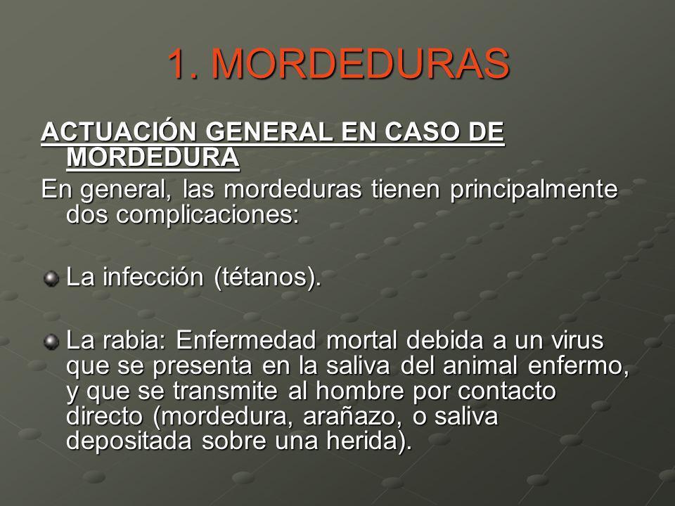 1. MORDEDURAS ACTUACIÓN GENERAL EN CASO DE MORDEDURA En general, las mordeduras tienen principalmente dos complicaciones: La infección (tétanos). La r