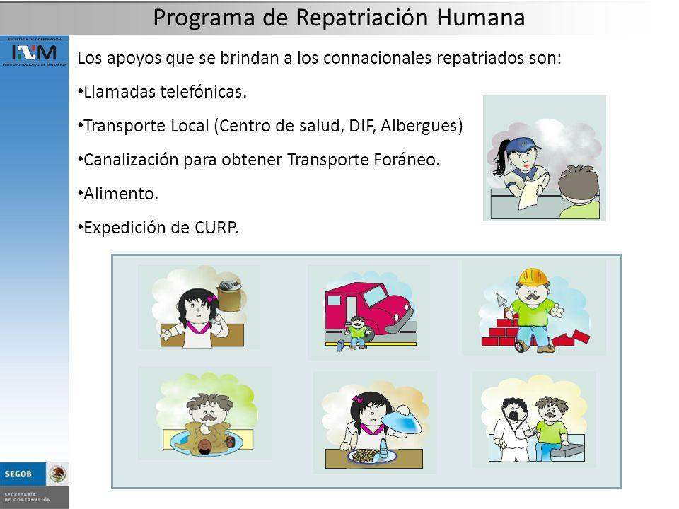 Los apoyos que se brindan a los connacionales repatriados son: Llamadas telefónicas. Transporte Local (Centro de salud, DIF, Albergues) Canalización p