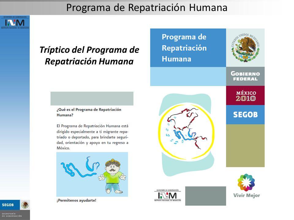 Tríptico del Programa de Repatriación Humana