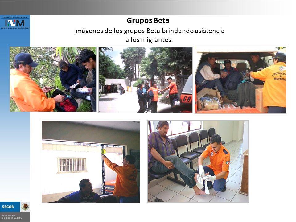 Imágenes de los grupos Beta brindando asistencia a los migrantes. Grupos Beta