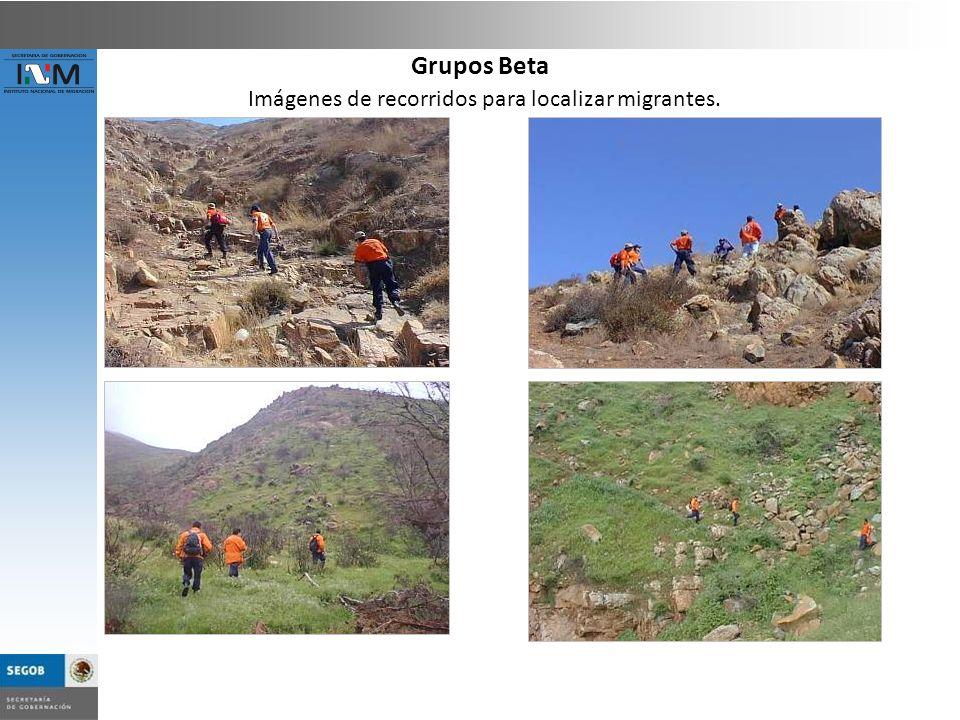 Imágenes de recorridos para localizar migrantes. Grupos Beta