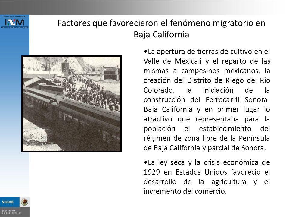 La apertura de tierras de cultivo en el Valle de Mexicali y el reparto de las mismas a campesinos mexicanos, la creación del Distrito de Riego del Río