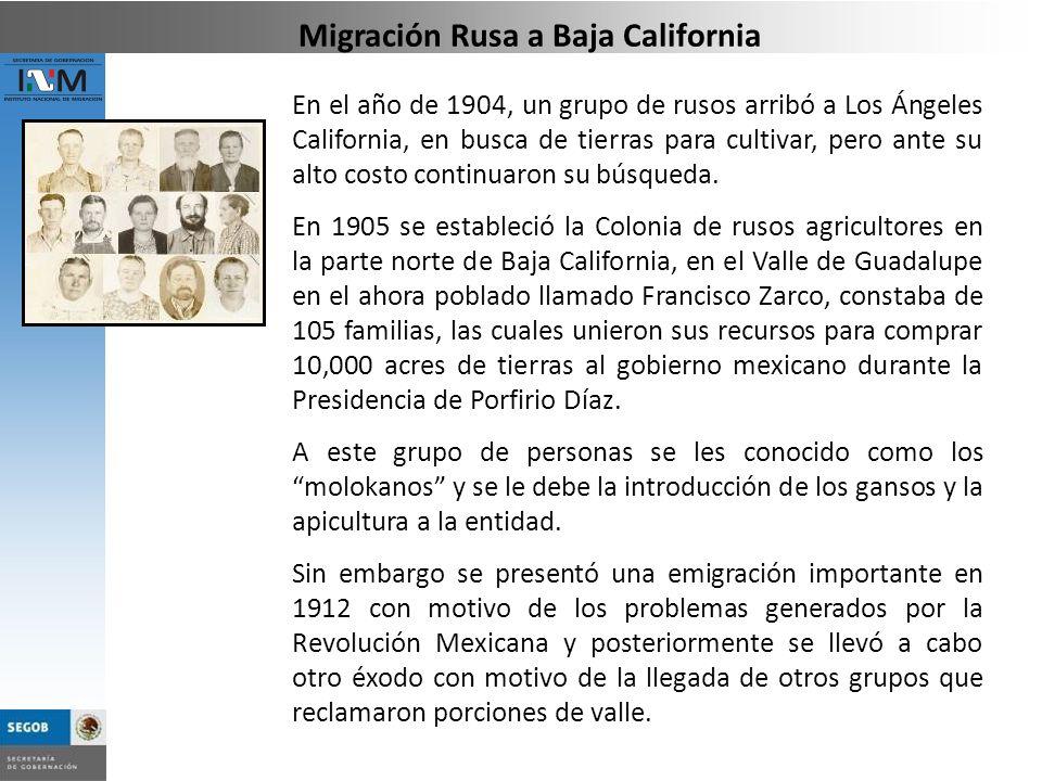 En el año de 1904, un grupo de rusos arribó a Los Ángeles California, en busca de tierras para cultivar, pero ante su alto costo continuaron su búsque