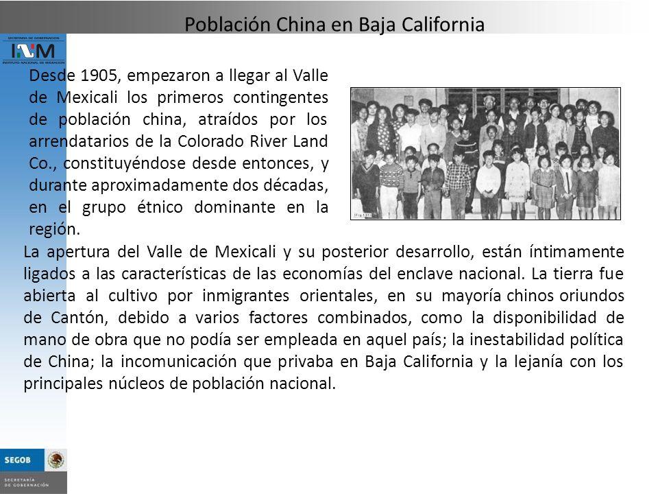 Desde 1905, empezaron a llegar al Valle de Mexicali los primeros contingentes de población china, atraídos por los arrendatarios de la Colorado River